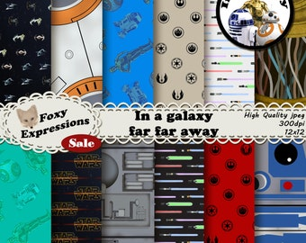 In a galaxy far far away digital paper pack includes r2d2, c3po, bb8, death star, lightsabers, tie fighters, x wings, rebel alliance, etc.
