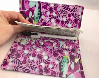 Purple Duplicate Checkbook Cover with Pen Holder Duplicate Checkbook Register Fabric Checkbook Cover Tula Pink Chipper Fox Nap in Raspberry