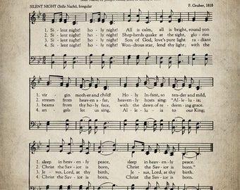 Silent Night Christmas Hymn Print - Sheet Music Art - Hymn Art - Hymnal Sheet - Home Decor - Music Sheet - Print - #HYMN-P-032