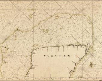 Poster, Many Sizes Available; Map Of Yucatan Peninsula 18Th Century In Spanish