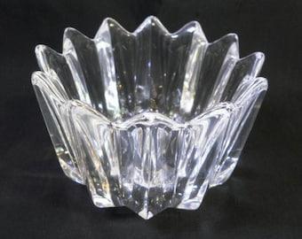 """ORREFORS FLEUR BOWL Etched Mark 12 Points Crystal Designed Jan Johansson 4.75"""" D"""