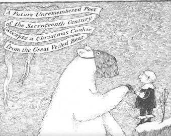 EDWARD GOREY Original Vintage 1970's Poster Print. Macabre Art, Gothic Home Decor. The Great Veiled Bear. Polar Bear