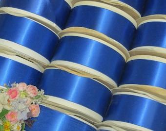20y Spool ROYAL FRENCH BLUE Satin Ribbon Double Faced Vintage Navy Marine Millinery Hat Flower Rosette Ribbonwork Art Cocarde Trim Applique