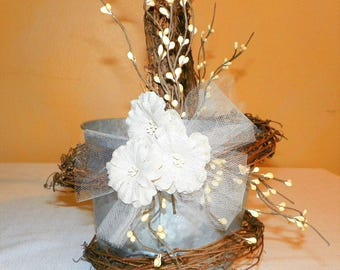 "Rustic Grapevine Flower Girl Basket 6"" High by 7"" Wide Metal Bucket with Burlap Flowers, Pip Berries and Grapevine"