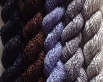 Hand dyed 4ply sparkle yarn mini skein set  430 yds approx in total