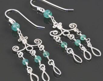 Genuine Emerald Chandelier Earrings. Sterling Silver. May Birthstone. Big Earrings. Lightweight Earrings. s17e054