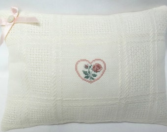 Heart And Rose Cross Stitch Mini Pillow Cottage Chic Shelf Pillow