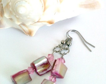 Orchid Dangle Earrings With Swarovski Crystals Handmade