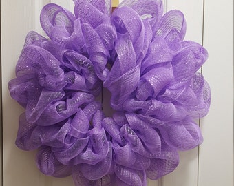 Lilac Deco Mesh Wreath, Ready to Decorate, or leave as is, Deco Mesh Wreath