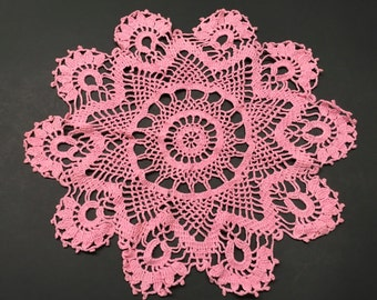 "14"" Vintage Hand Crocheted Doily Pink"