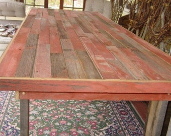 primitive furniture 9 1/2 ft reclaimed barn wood , harvest table, country farm house table, farmers table, wood benches, dining table