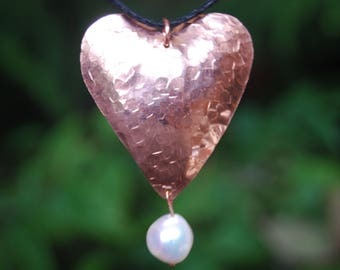 Cherokee Copper Textured Heart and Pearl Pendant - Handmade - Mother's Day