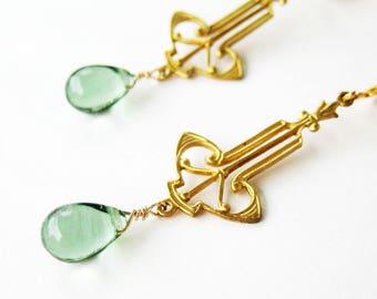 Edwardian Clip-on Earrings, Light Green Glass Teardrops, Brass Filigree Dangle Clipons, Lightweight Non Pierced Earrings, Pale Green, Bella