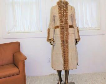 Vintage 1960's fur leather coat full length