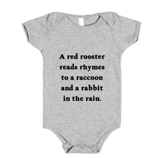 Baby One Piece / Bodysuit -  Heather Grey - The Letter R - Poem - by Oliver Lake - iOTA iLLUSTRATION