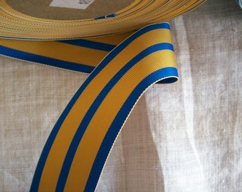 2 yds.of vintage millinery ribbon in a cobalt and gold stripe