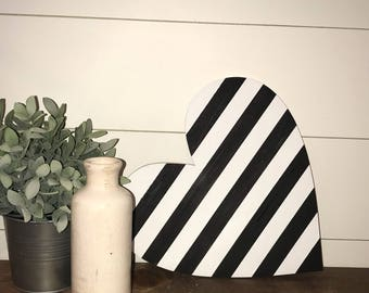 Handmade, Black and white striped heart