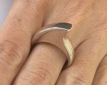 Silver Ring, Sterling Silver Ring, Engagement ring, Sterling 925 ring, Stacking ring, Ring Size 10, Silver round ring, Full Silver ring,