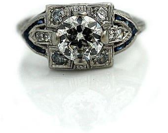 "Classic Vintage Engagement Ring, Antique Engagement Ring, European Cut Sapphire 1930's Platinum Ring AD1391 GIA "" The Makenzie"""