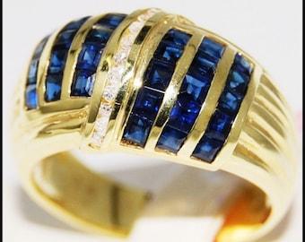 Gemstone Blue Sapphire Jewelry Diamond 18K Yellow Gold Ring [RR030]