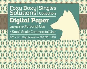 Fancy Diamond Pattern - Single Sheet in Blue - Printable Scrapbooking Paper