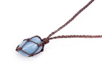 Angelite Necklace, Tumbled Angelite, Blue Stone Necklace, Healing Crystal Necklace, Healing Stone Necklace