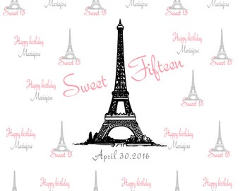 Sweet 15 Photobooth Backdrop, Sweet 15 Step and repeat backdrop, Photobooth Backdrop, Photo Booth Backdrop, Birthday Backdrop, Event