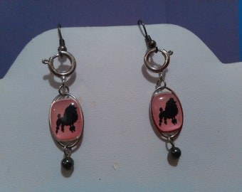 Pink Poodle Earrings 50's Style Dangles