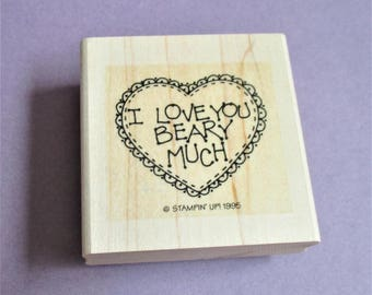 I Love You Beary Much Papercraft Rubber Stamp Valentine Paper Craft DIY Card Making Scrapbooking Collage Stamping Supply Stampin Up