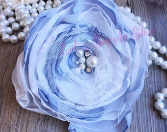 """Set of 2 Gray & White 5"""" Satin Flowers - Satin Layered Fabric Flowers - Embellished Flowers - Burned Edges Fabric Flowers - Hair accessories"""