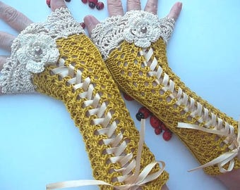 Crocheted Cotton Gloves Ready To Ship Victorian Fingerless Summer Women Wedding Lace Evening Retro Hand Knitted Party Mustard Corset B27