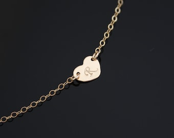 Single Initial Heart necklace 14K Gold Filled or Sterling Silver - Valentine's day, birthday, mother's day, for love gift, bridesmaids gifts