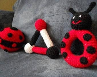 Pattern - Ladybug Baby Toy Rattle Set
