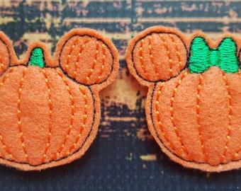 Pumpkin Mouse Feltie, Halloween Mouse, Pumpkin Feltie, Mice Felties, Mouse Feltie, Felt Embellishments, Felt Applique, Hair Bow Supplies
