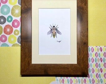 "Framed ""Honeybee"" Art Print, rustic frame, wooden frame print, shabby chic wall art, insect wall art, bee print, fred bee artwork"