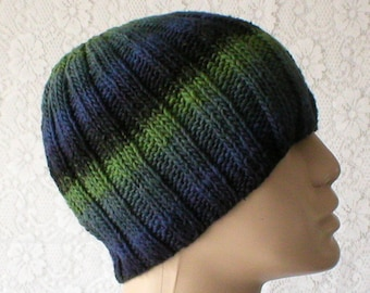 Beanie hat, navy blue black green, striped hat, skull cap, Black Watch tartan look, mens womens knit hat, toque, skateboard, biker hiking V4