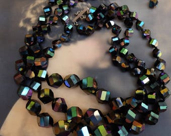 Vintage Choker Necklace Three Strand Iridescent Faceted Black Glass Beads