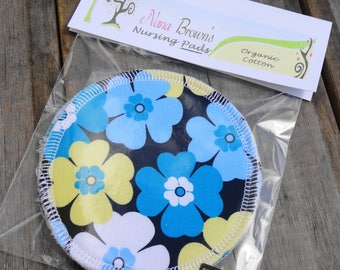 Reusable Nursing Pads, Organic Nursing Pads, Flannel Nursing Pads - Blue Floral