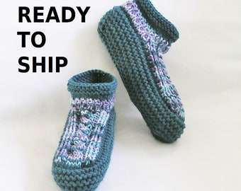 Teal Womens Slippers Low Cuff Bedsocks, Hand Knitted Blues and Purples, 2 Ladies Sizes, Choose 7.5 - 8.5 or 8.5 - 9