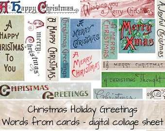 Christmas Holiday Greetings Words digital collage sheet 0118