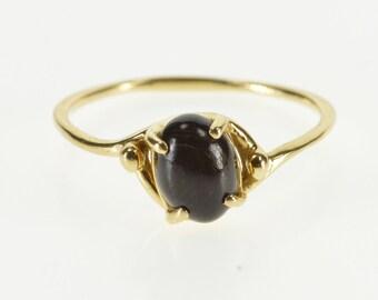 14K Oval Black Cabochon Wavy Freeform Ring Size 8.25 Yellow Gold