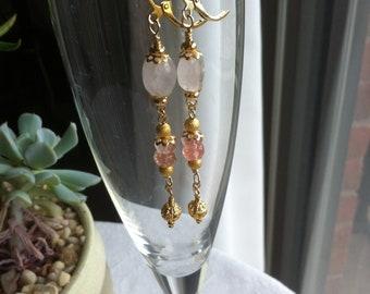 Bohemian pink quartz and pink tourmaline earrings with filigree bead