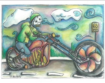Watercolor biker painting print, biker painting, motorcycle painting, Harley Davidson painting, skeleton painting, skeleton motorcycle art