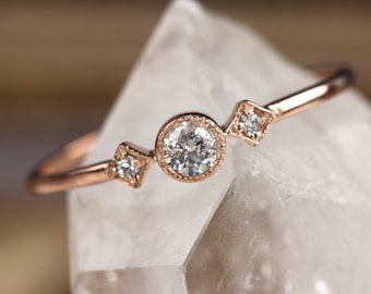 Rose gold engagement ring, 14k solid rose gold ring, .15ctw diamond stacking ring, vintage inspired ring, unique, yellow gold, white gold
