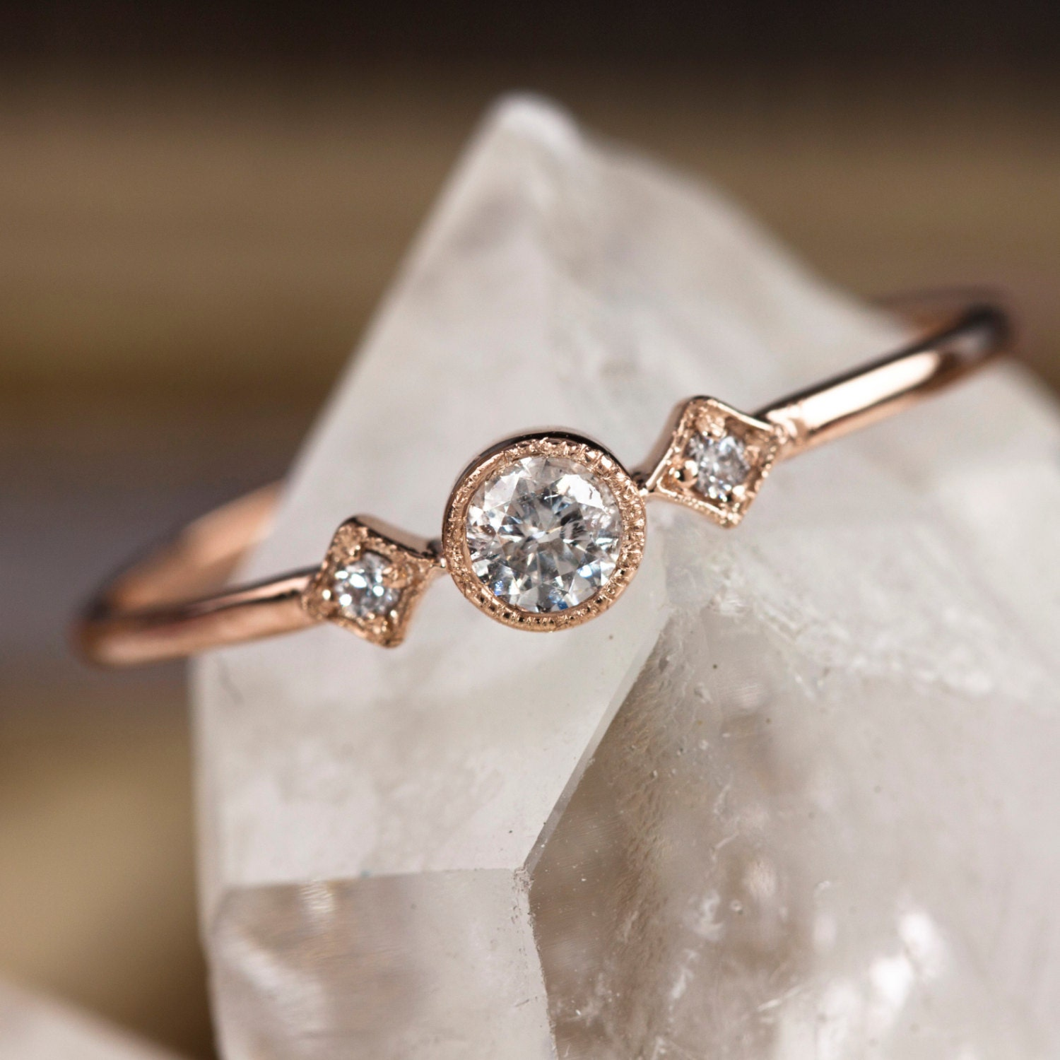 Rose gold engagement ring 14k solid rose gold ring .15ctw