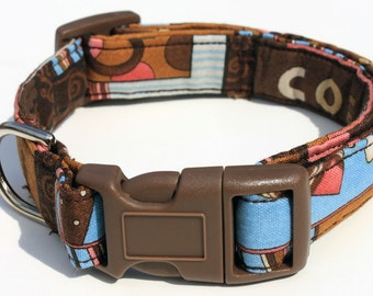 Coffee Cup Mocha Java Dog Collar Size XS, S, M or L Caffeine
