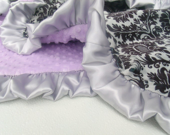 Lavender Minky Dot with Gray and Black Damask Minky Baby Blanket