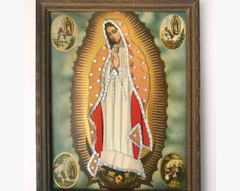 Vintage / antique framed satin and foil decorated lithograph of Our Lady of Guadalupe