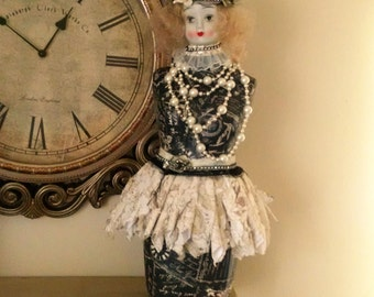Altered Dress form, Altered Art Mannequin, Paris apartment, Vintage altered doll, table top dress form,French Doll, French Doll