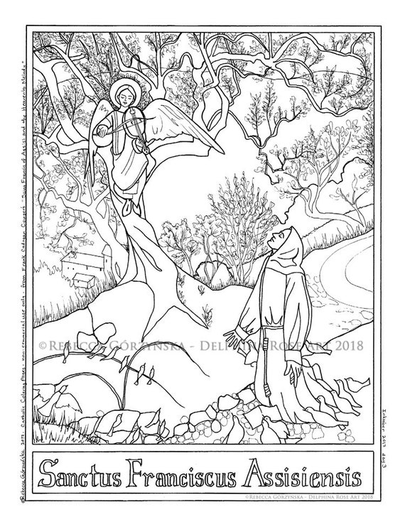 St Francis of Assisi Coloring Page Cowper Heavenly Melody